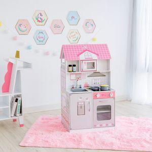 Teamson Kids - Wonderland Ariel 2 in 1 Puppenhaus & Spielküche - Pink / Grau - TD-12515P