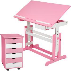 tectake Kinderschreibtisch und Rollcontainer - rosa
