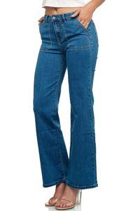Damen High Waist Skinny Flare Jeans Retro Schlag Hose Vintage, Farben:Blau, Größe:36