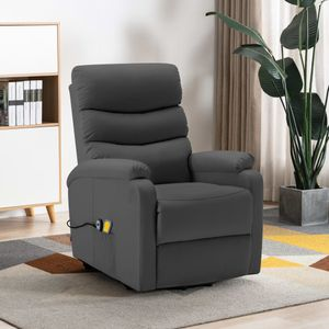 Elektrisch Massagesessel TV Sessel mit Aufstehhilfe Anthrazit Kunstleder - Relaxsessel Fernsehsessel