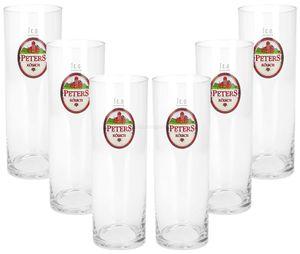Peters Kölsch Stange Bierglas Glas Gläser Set - 6x Kölschstangen 0,3l geeicht
