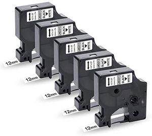 5x Uniplus 12mm x 7m Kompatibel Schriftband Ersatz für Dymo D1 45013 45013s S0720530 Schwarz auf Weiß für Dymo LabelManager 160 210D 360D 280 420P 500TS Labelpoint 250 150 Labelwriter 450 Duo Turbo