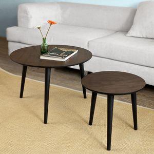 SoBuy® 2er Set Couchtisch, Beistelltisch, Tisch-Set, Sofatisch, MDF, braun, FBT40-BR