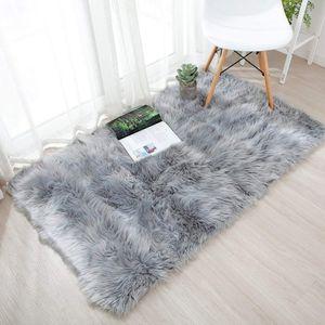 Flauschig Teppich, Weiche Bettvorleger Faux Schaffell Teppich Läufer für Wohnzimmer Kinderzimmer Schlafzimmer Sofa Matte Auto Bettvorleger (Grau)