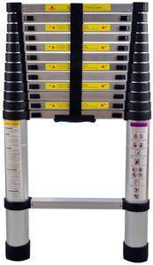 NAIZY Teleskopleiter 3,8m Alu-teleskopleiter Rutschfester Aluleiter Schiebeleiter Sprossenleiter Ausziehleiter Teleskop-Design Mehrzweckleiter max 150 kg Belastbarkeit