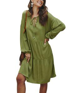 Frauen Langarm Midi Kleid Damen V-Ausschnitt Casual Loose T-Shirt Tops Midi Kleid Grün S