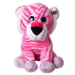 TE-Trend Glubsch Plüsch Tiger Kuscheltier XXL Plüschtiger Riesen Stofftier Plüschtier Glitzeraugen Mädchen 80 cm Weiß Pink