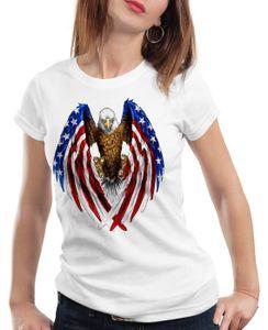 style3 USA Adler Damen T-Shirt US Amerika Stars Stripes Weisskopfadler, Farbe:Weiß, Größe:M