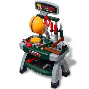 vidaXL Kinderwerkbank Werkzeugbank mit Werkzeugen grün + grau