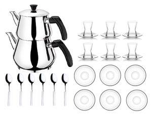 Orginal türkisches Tee Set Teeset 22 Tlg./ 6 Transparente Gläser mit Blumen/ 6 Rührlöffel/ 6 Untertassen / 4 Tlg. Teekocher Teekannen Set Größe Mini (1,2 & 0,6 Liter)