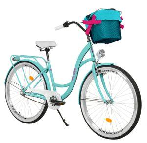 Milord Komfort Stadtfahrrad Fahrrad mit Korb Damenfahrrad, 26 Zoll, Blau, 3-Gang