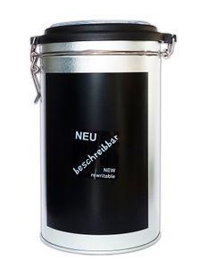 KAFFEEDOSE mit beschreibbarer Fläche Ø11cm Höhe-19cm Metall luftdicht rund Blechdose Dose Kaffee Vorratsdose Aromadose 31