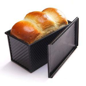 Für 450g Teig Toast Brot Backform Gebäck Kuchen Brotbackform Mold Backform mit Deckel(Schwarz-Rechteck-Welle)