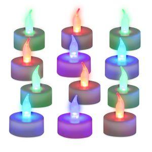 relaxdays 12x LED Teelicht Farbwechsel Stimmungslicht Dekokerzen flammenlos Partylichter