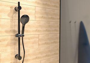 SCHÜTTE RAVEN Duschset mit Duschstange und Handbrause, 3-fach verstellbarer Duschkopf mit Schlauch und Halterung, Regendusche, Duschsäule mit 70 cm Brausestange, Schwarz matt