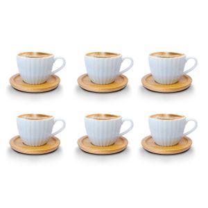 Espressotassen 12 Teilig mit untersetzer Bambus Porzellan 6 Tassen + 6 Untersetzer 100 ml Weisse Kaffeetassen Set bm729 Model 1