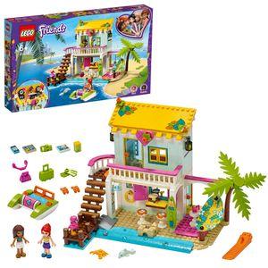 LEGO 41428 Friends Strandhaus mit Tretboot Set, Puppenhaus mit Mini Puppen Andrea & Mia und 2 Tierfiguren, Spielzeug ab 6 Jahren