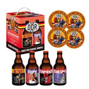 4er Bierwürfel DDR ROT mit 4 Sammler-Bierdeckel (11,36 EUR / l)
