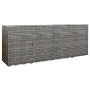 vidaXL Mülltonnenbox für 4 Tonnen Anthrazit 305x78x120 cm Poly Rattan
