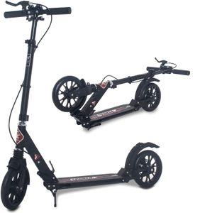 ISE Big Wheel Scooter Tretroller 200mm Roller Cityroller Klappbarer Scooter 93-107cm mit 2 Räder,Handbremse für Erwachsene und Kinder,belastet 135 kg,2 Farbeauswahl,nach EN957  (Sport-Style)