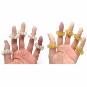 10er Set Massagering Akupressur Ringe Fingermassage gold silber Entspannung