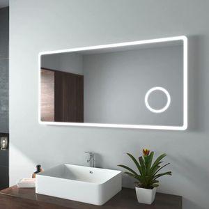 EMKE LED Badspiegel 120x60cm Badezimmerspiegel mit Beleuchtung Kaltweiß Lichtspiegel Wandspiegel mit 3-Fach Vergrößerung Schminkspiegel IP44 Energiesparend