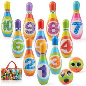 Bowling Ball Set Kegelspiel für Kinder, Kinder Bowling mit 10 Kegel und 2 Bälle, Mini Spiele Pädagogische Spielzeug Roll Ball Geschenke für Kinder Drin und Draußen