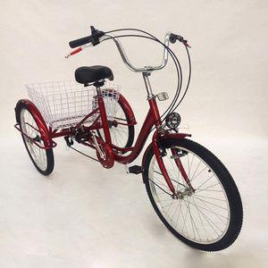 """24"""" Erwachsenendreirad Tricycle Dreirad Senioren Fahrrad für Erwachsene Mit Licht & Korb Einkaufen"""