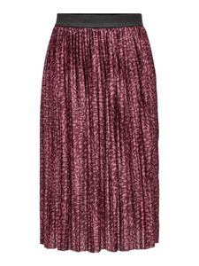 Damen Jacqueline de Yong Rock Jersey Plissee Skirt Knie Lang Elegant Leo Muster Stretch Bund JDYBOA, Farben:Rot, Größe:S