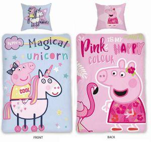 Peppa Pig Peppa Wutz Kinder-Bettwäsche 135x200 80x80  Einhorn/Flamingo 100% Baumwolle