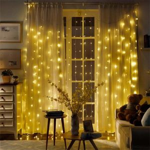 LED Vorhang Licht 3 * 3 Meter 300 Lichter Vorhang Licht Hintergrund Innen Kupferdraht Vorhang Licht