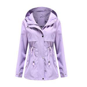 Damen-Taillen-Outdoor-Regenjacke mit Kapuze mit Reißverschluss-Hoodie,Farbe: Lila,Größe:M