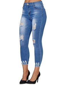 Damen Denim Jeans Hose Stretch Röhrenjeans Skinny Treggings Destroyed Risse, Farben:Blau, Größe:38