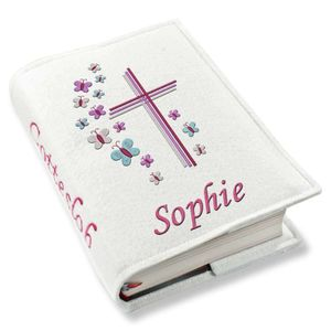 Gotteslob Gotteslobhülle Kreuz Schmetterlinge lila pink Kunstleder mit Namen bestickt weiß Mädchen, Farbe:weiß