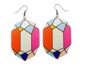Holz Diamanten Ohrringe Miniblings Diamant geometrisches Muster Edelstein bunt