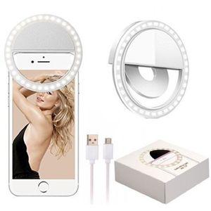 cofi1453 Selfie Licht Ring Handy Halter mit USB Kabel Handy Flash LED Light Fotolicht Selfie kompatibel mit Smartphone