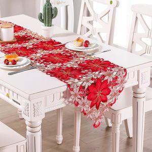 Weihnachten Tischläufer Tischdecke Tischdeckchen Blume Stickerei Nachbildung, 38 x 176cm