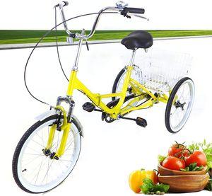 Faltbar Dreirad 20 Zoll Single Speed 3 Rad Fahrrad U-Typ Cityräder Citybike + Einkaufenskorb für Erwachsene (Hellgelb)