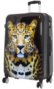 Koffer Leopard Tiger Reise Trolley Leo Schwarz XL Groß 78 cm Erweiterbar Bowatex