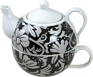 Tea For One Set  BLACK LEAVES Teekanne mit Teetasse