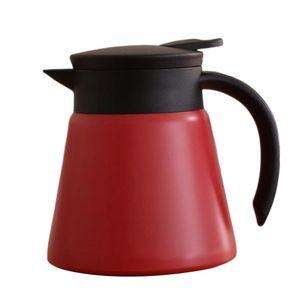 Thermoskanne Edelstahl Isolierkanne Groß Teekanne Doppelwandige Kaffeekanne Servierkanne Farbe rot
