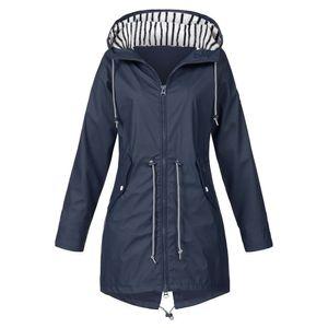 Damen Solid Rain Jacke Outdoor Jacken Kapuzenregenmantel Winddicht Größe:XXXL,Farbe:Navy