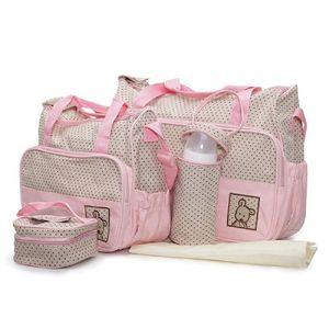 Moni Wickeltasche Stella, Set mit Wickelunterlage, Isoliertasche f. Babyflaschen pink