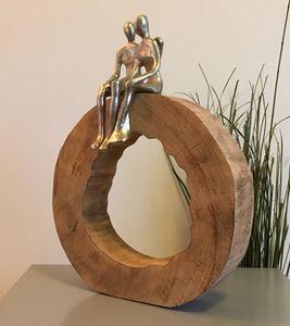Skulptur Holz Be Together 39x28x6 cm Zusammen Sein Gemeinsam Deko Silber Figur