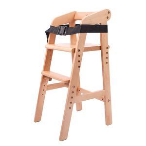 YOLEO Hochstuhl Höhenverstellbarer Kinderstuhl mit Sicherheitsgurt von 1 bis 12 Jahren 90KG Stuhl Wächst mit Kindern zum Essen und Studieren von Buche Natur