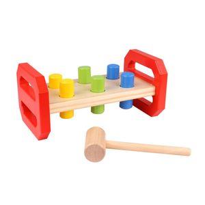 Tooky Toy Hämmerspielzeug mit bunten Holzklötzen - Hammerbank aus Holz mit hochwertigen Einzelteilen - optimal geeignet für Kleinkinder ab 3 Jahren - ca. 21,8 x 12 x 10 cm