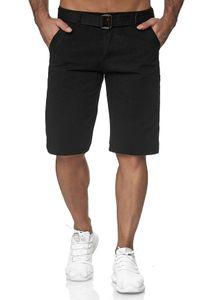Herren Chino Shorts Kurze Sommer Jeans Hose 5-Pocket, Farben:Schwarz, Größe Shorts:36W