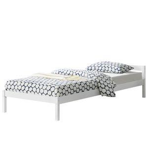 [en.casa] Holzbett 90 x 200 cm Kiefer Weiß Bettgestell Kiefernholz mit Lattenrost Bettrahmen Einzelbett Jugendbett