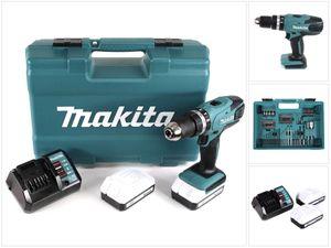 Makita HP 457 DWE 18 V Akku Schlagbohrschrauber + 2 x 1,3 Ah Akku + Ladegerät + 74 tlg. Zubehör Set im Werkzeugkoffer