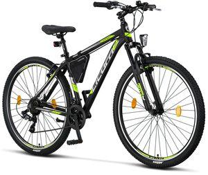 Licorne Bike Effect Premium Mountainbike - Fahrrad für Jungen, Mädchen, Herren und Damen - Shimano 21 Gang-Schaltung - Herrenrad, Farbe:Schwarz/Lime (V-Bremse), Zoll:29.00